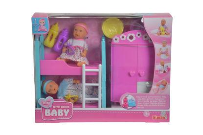 Obrázek Mini New Born Dětský pokoj + 2 panenky (pije + čůrá) 12 cm