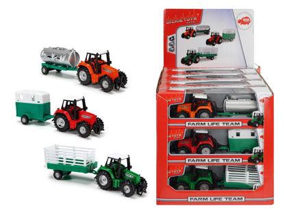 Obrázek Traktor kovový s přívěsem 18 cm