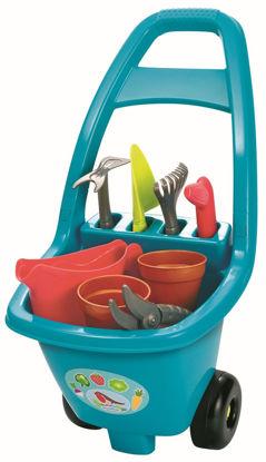 Obrázek Zahradní dětský vozík s nářadím, květináči a konvičkou