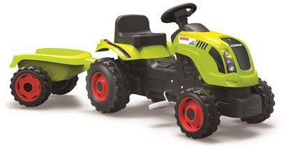 Obrázek Šlapací traktor CLAAS zelený s vozíkem