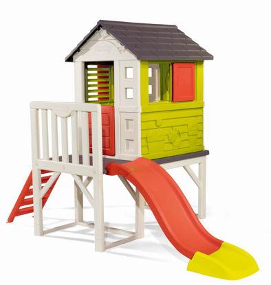 Obrázek Dětský domeček na pilířích se skluzavkou