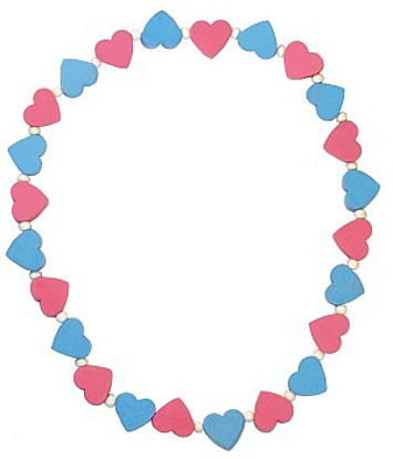 Obrázek Dětský náhrdelník s růžovými a modrými srdíčky