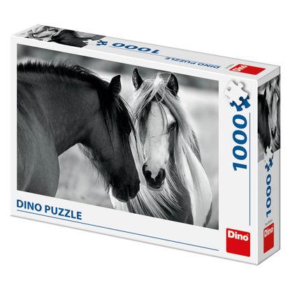 Obrázek Puzzle Černobílí koně 1000D