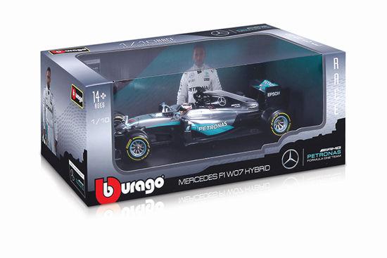 Obrázek z Bburago 1:18 Race F1 Mercedes AMG Petronas W07 hybrid 2016 (44 Lewis Hamilton)