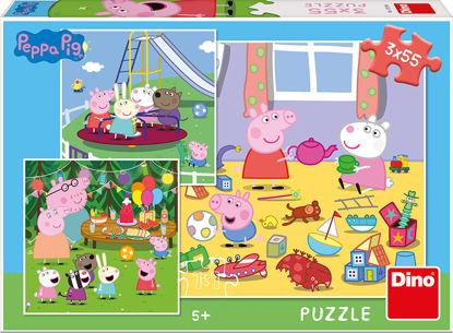 Obrázek PEPPA PIG NA PRÁZDNINÁCH 3x55 Puzzle NOVÉ