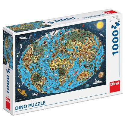 Obrázek KRESLENÁ MAPA SVĚTA 1000 Puzzle NOVÉ