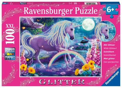Obrázek Třpytivé puzzle Zářící jednorožec 100 dílků