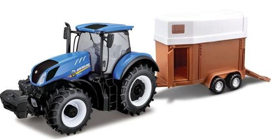 Obrázek z Bburago 1:32 Farm Traktor New Holland s vlečkou pro koně