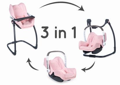 Obrázek 3v1 Autosedačka a židlička MC&Q pro panenky světle růžová