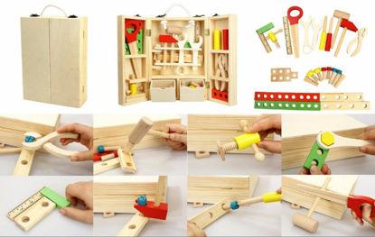 Obrázek Nářadí dětské dřevěné s doplňky v dřevěném kufříku