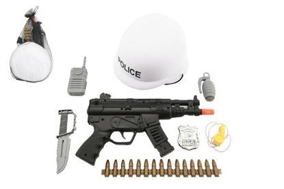 Obrázek Sada policie helma+samopal na setrvačník s doplňky plast v síťce