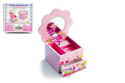 Obrázek Skříňka šperkovnice Princess s hrající květinou a zásuvkou