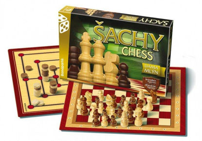 Obrázek Šachy, dáma, mlýn dřevěné figurky a kameny společenská hra